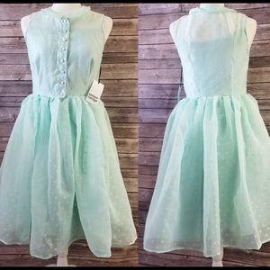 Unique Vintage 1950s Style Mint Swiss Dotted Dress